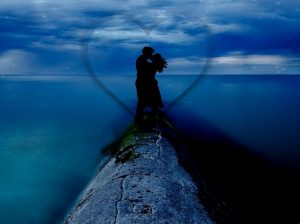 couple kissing blue